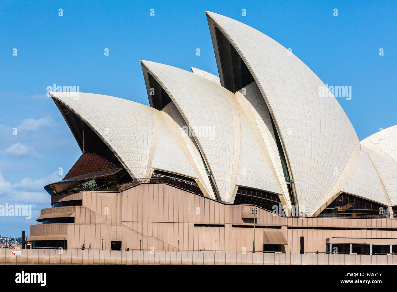 Sydney Opera House, designed by Jørn Utzon and opened in the 1970s. - Stock Image