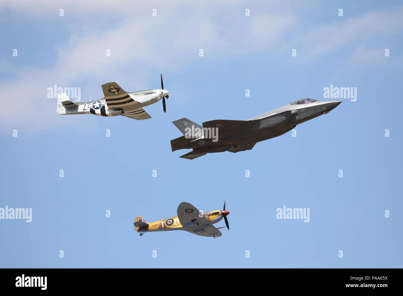 Hawker Hurricane IIc Fairford RIAT Sunday 15th July 2018 Military Aeroplane Royal International Air Tattoo RAF100 Stock Photo