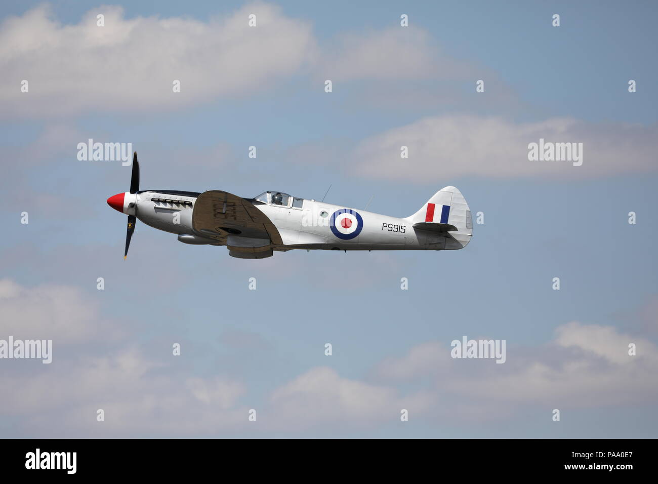 Super Marine Spitfire PS915 Fairford RIAT Sunday 15th July 2018 Military Aeroplane Royal International Air Tattoo RAF100 Stock Photo