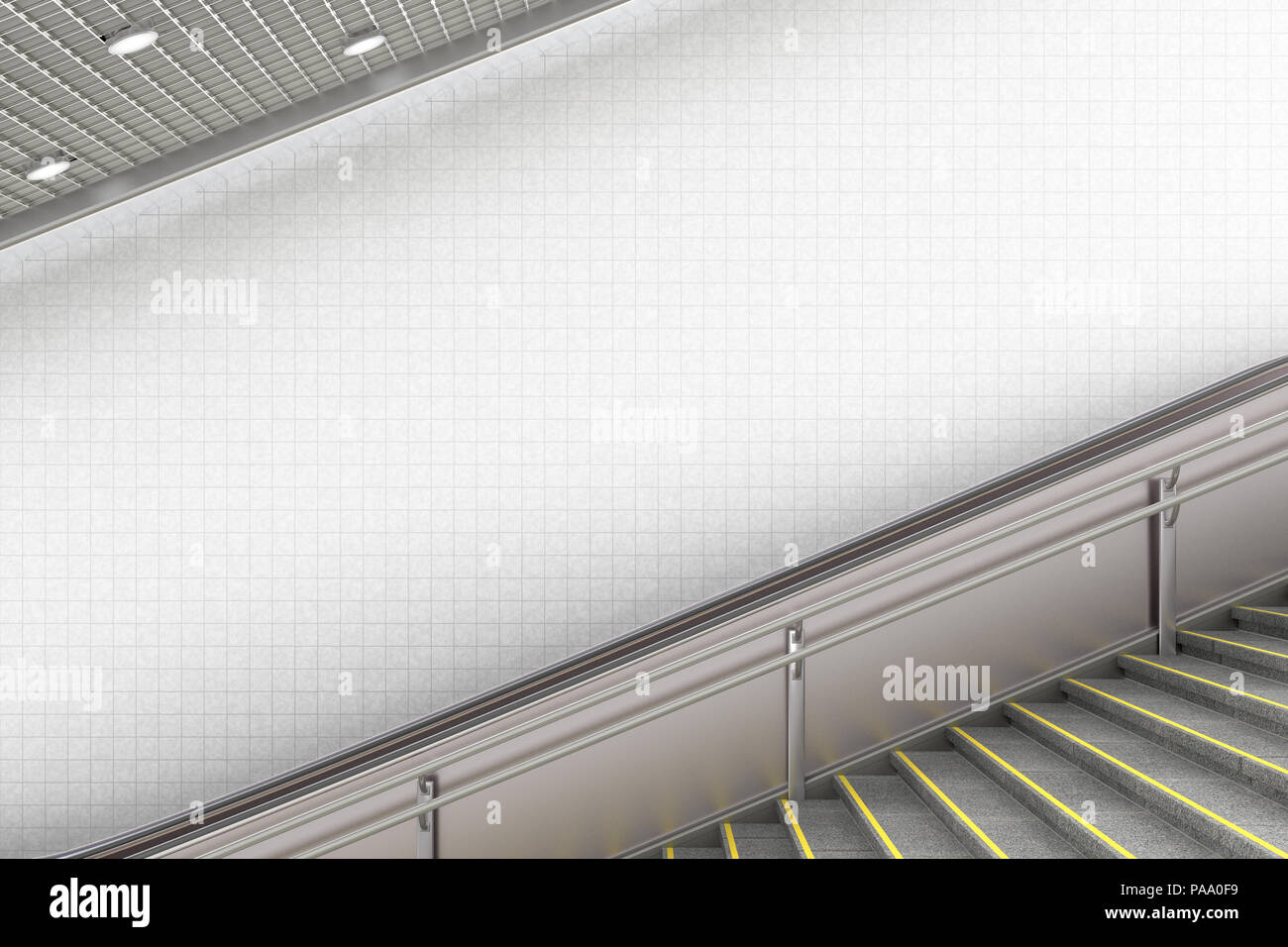 Blank underground escalator wall for advertising poster. 3d illustration - Stock Image