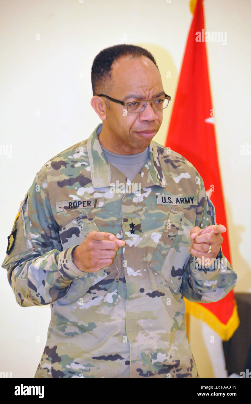 Maj. Gen. A.C. Roper, commanding general of the U.S. Army reserve's 80th Training Command, addresses competitors at the awards ceremony on the final day of the Best Warrior Competition at Camp Bullis, Texas. Stock Photo