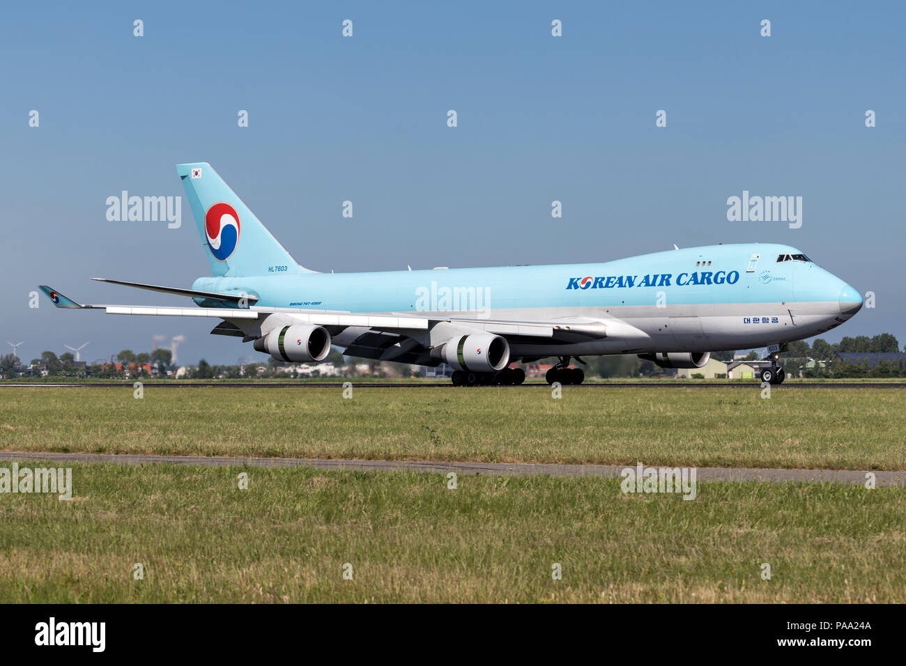 Korean Air Cargo Boeing 747-400F with registration HL7603 just landed on runway 18R (Polderbaan) of Amsterdam Airport Schiphol. - Stock Image