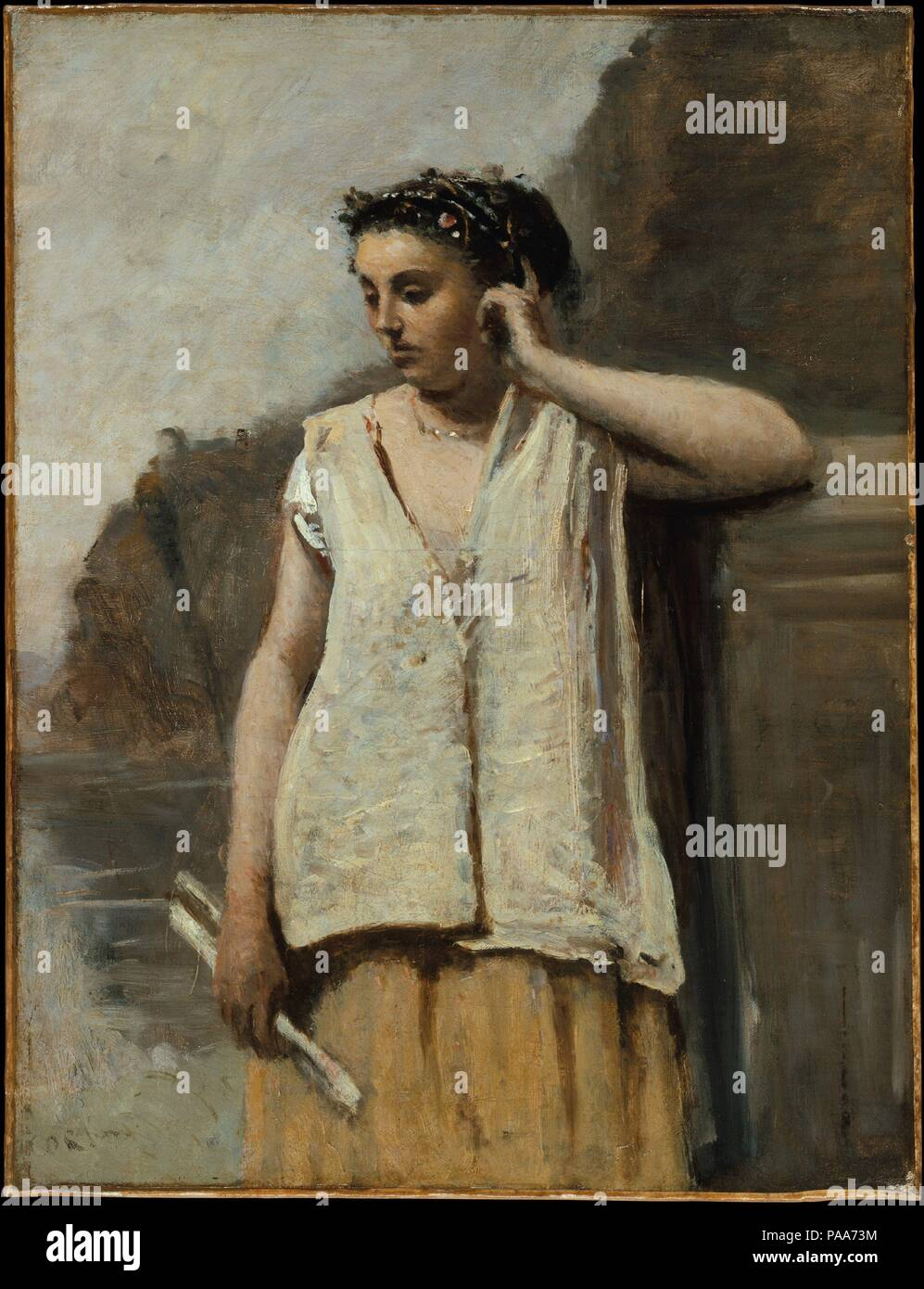 The Muse: History. Artist: Camille Corot (French, Paris 1796-1875 Paris). Dimensions: 18 1/8 x 13 7/8 in. (46 x 35.2 cm). Date: ca. 1865.  The model for this work may have been Emma Dobigny, who often sat for Corot at the end of his career. Corot painted four other Muses in the 1860s. All of them evoke a mood of melancholy. Museum: Metropolitan Museum of Art, New York, USA. - Stock Image