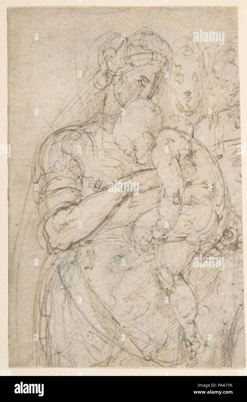 Standing Virgin with Child, Two Heads at Upper Right (recto); Sketch of Steps (verso). Artist: Battista Franco (Italian, Venice ca. 1510-1561 Venice). Dimensions: 4 13/16 x 3 1/8in. (12.3 x 8cm). Date: 1530. Museum: Metropolitan Museum of Art, New York, USA. - Stock Image