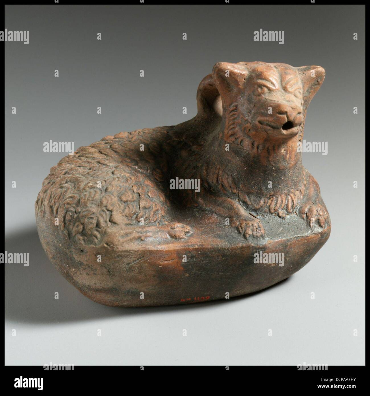 Terracotta askos in the form of a dog  Culture: Greek