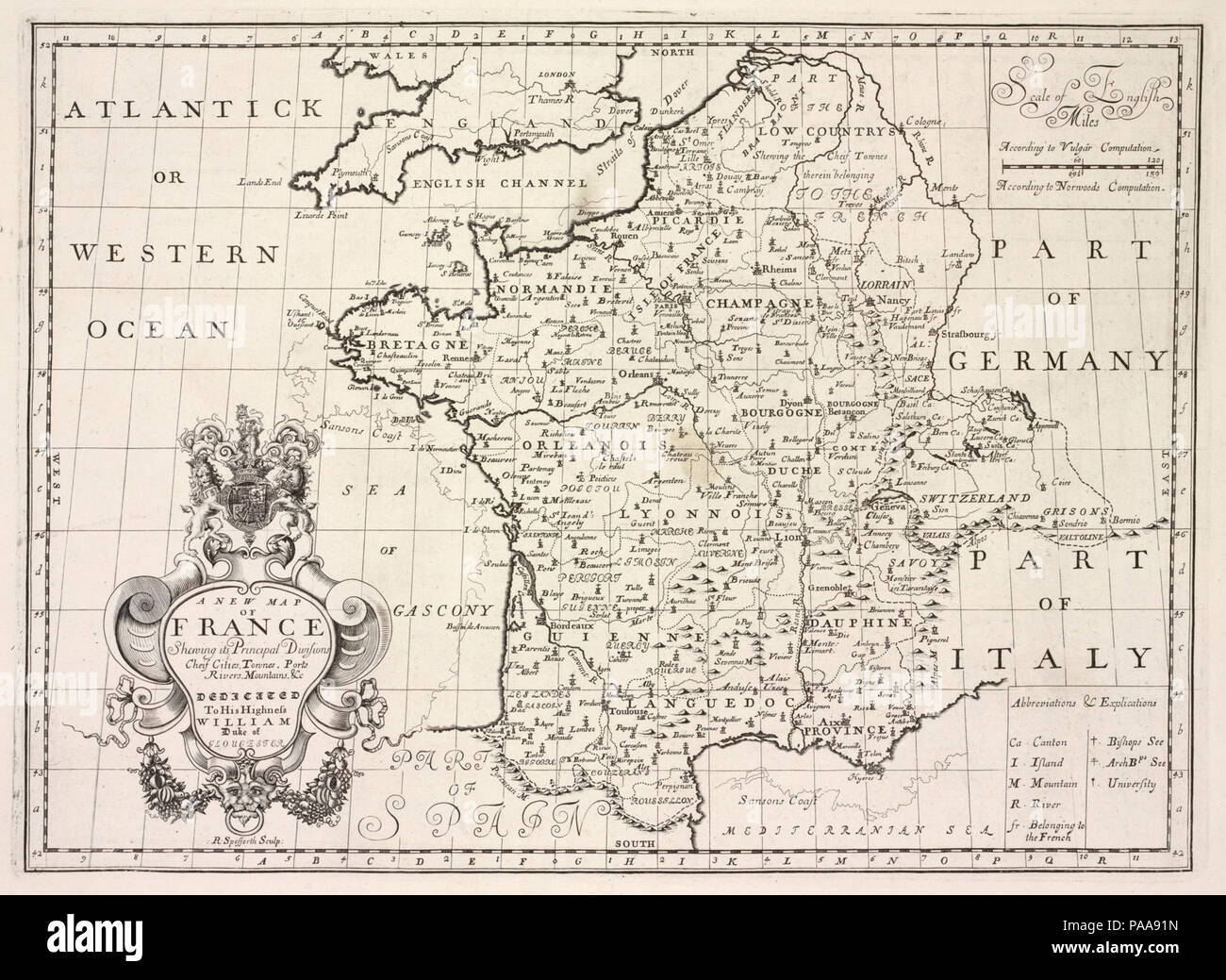Map Of France Rivers And Mountains.A New Map Of France Shewing Its Principal Divisions Cheif Cities