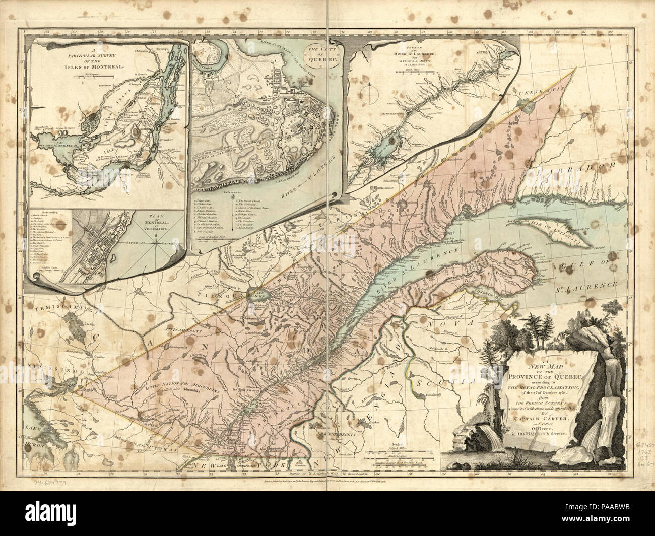 A new map of the Province of Quebec, according to the Royal Proclamation, of the 7th of October 1763. - Stock Image