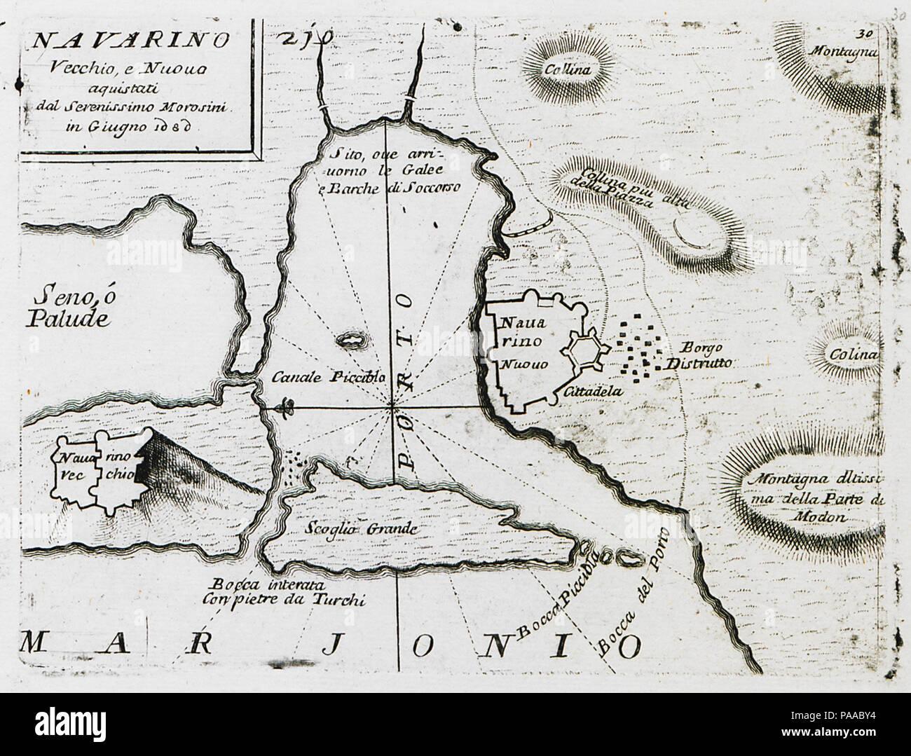181 Navarino Vecchio, e Nuovo aquistati dal Serenissimo Morosini in Giugno 1680 - Coronelli Vincenzo - 1686 Stock Photo