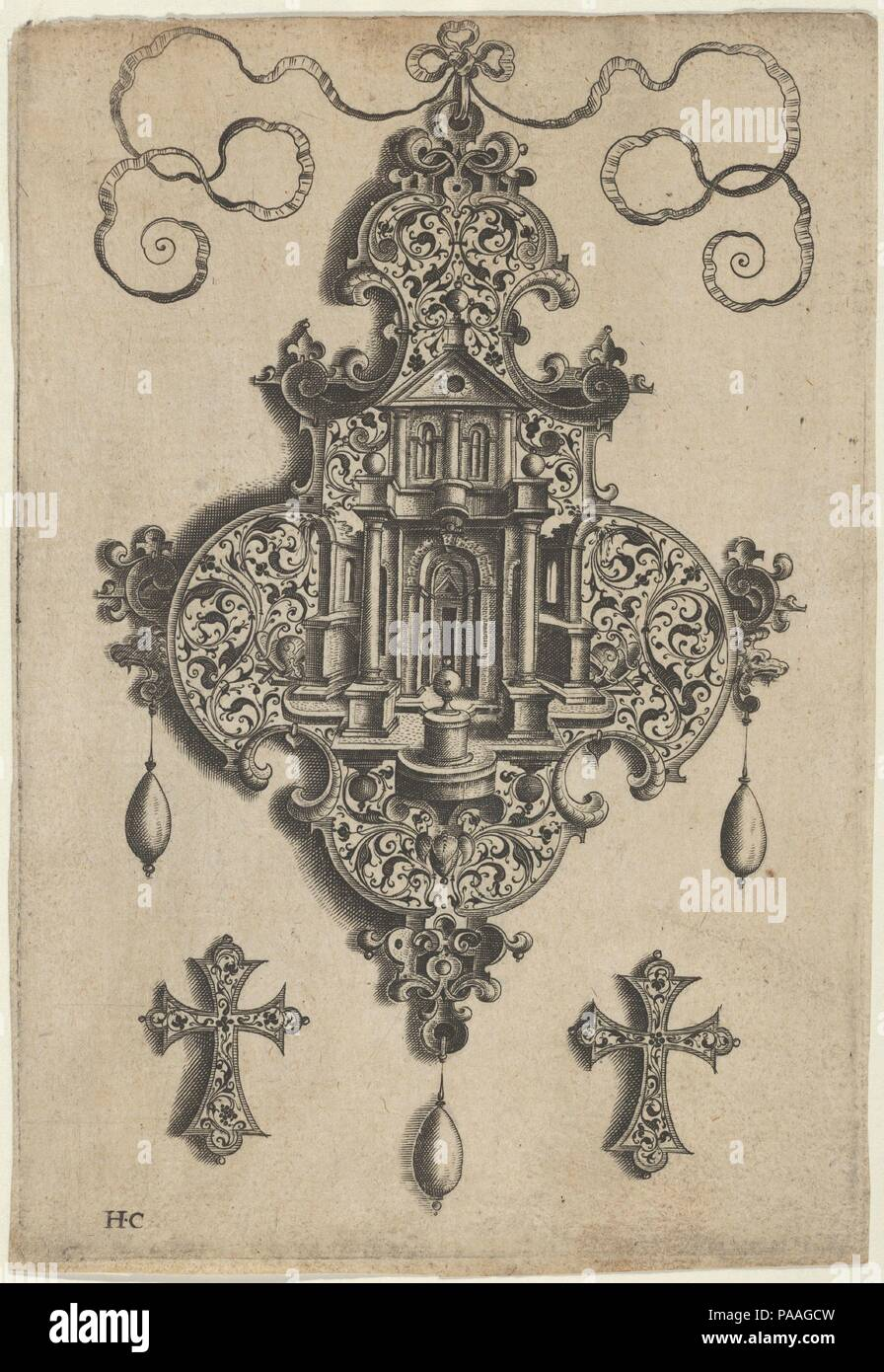 Pendant Design with a Temple and Vase Above Cross-Shaped Ornaments. Artist: Jan Collaert I (Netherlandish, Antwerp ca. 1530-1581 Antwerp). Dimensions: Sheet: 5 7/8 × 4 1/16 in. (14.9 × 10.3 cm). Publisher: published by Hans Liefrinck (Augsburg (?) 1518?-1573 Antwerp). Series/Portfolio: Pendant Designs with Architectural Elements and Vegetal-Arabesques. Date: before 1573.  Vertical panel with pendant design at center with the facade of a temple with a vase on a pedestal, with a vegetal-arabesque pattern. The pendant hangs from a ribbon and has three pearls descending below. At bottom left and r - Stock Image