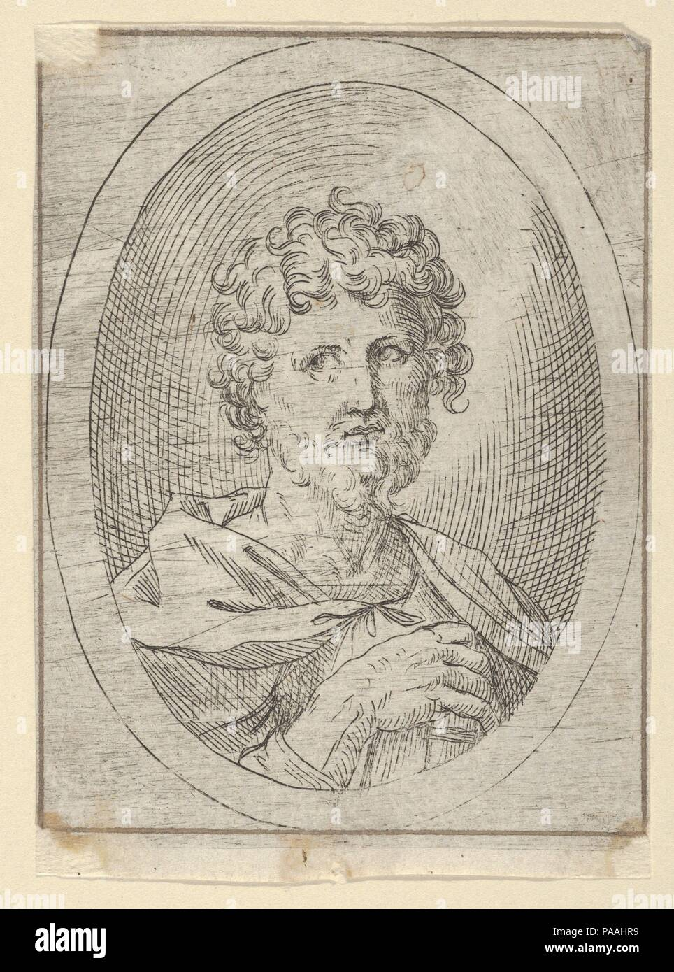 An apostle holding a closed book and looking to the left, in an oval ...