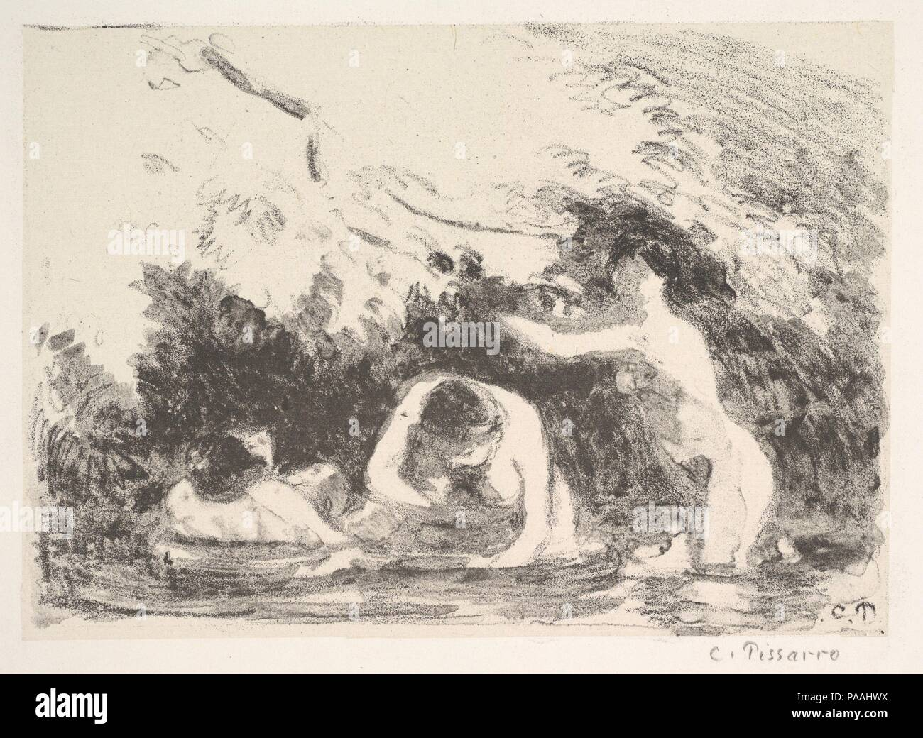 Bathers in the Shade of Wooded Banks. Artist: Camille Pissarro (French, Charlotte Amalie, Saint Thomas 1830-1903 Paris). Dimensions: sheet: 13 3/4 x 18 7/8 in. (35 x 48 cm)  plate: 6 1/8 x 8 5/8 in. (15.6 x 21.9 cm). Publisher: Published by l'Estampe Originale in March, 1895. Date: 1894. Museum: Metropolitan Museum of Art, New York, USA. Stock Photo