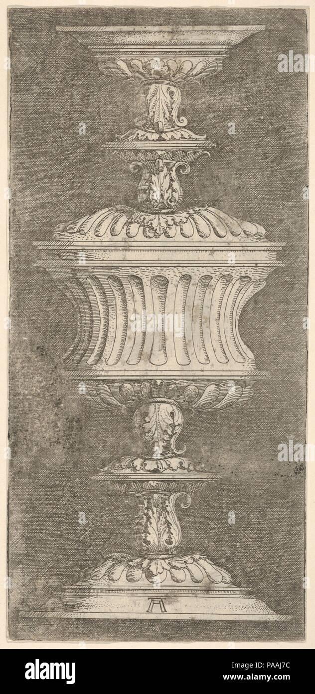 Double Goblet with Flutes and Acanthus-Leaves. Artist: Albrecht Altdorfer (German, Regensburg ca. 1480-1538 Regensburg). Dimensions: Sheet: 9 1/16 × 4 1/4 in. (23 × 10.8 cm). Museum: Metropolitan Museum of Art, New York, USA. - Stock Image