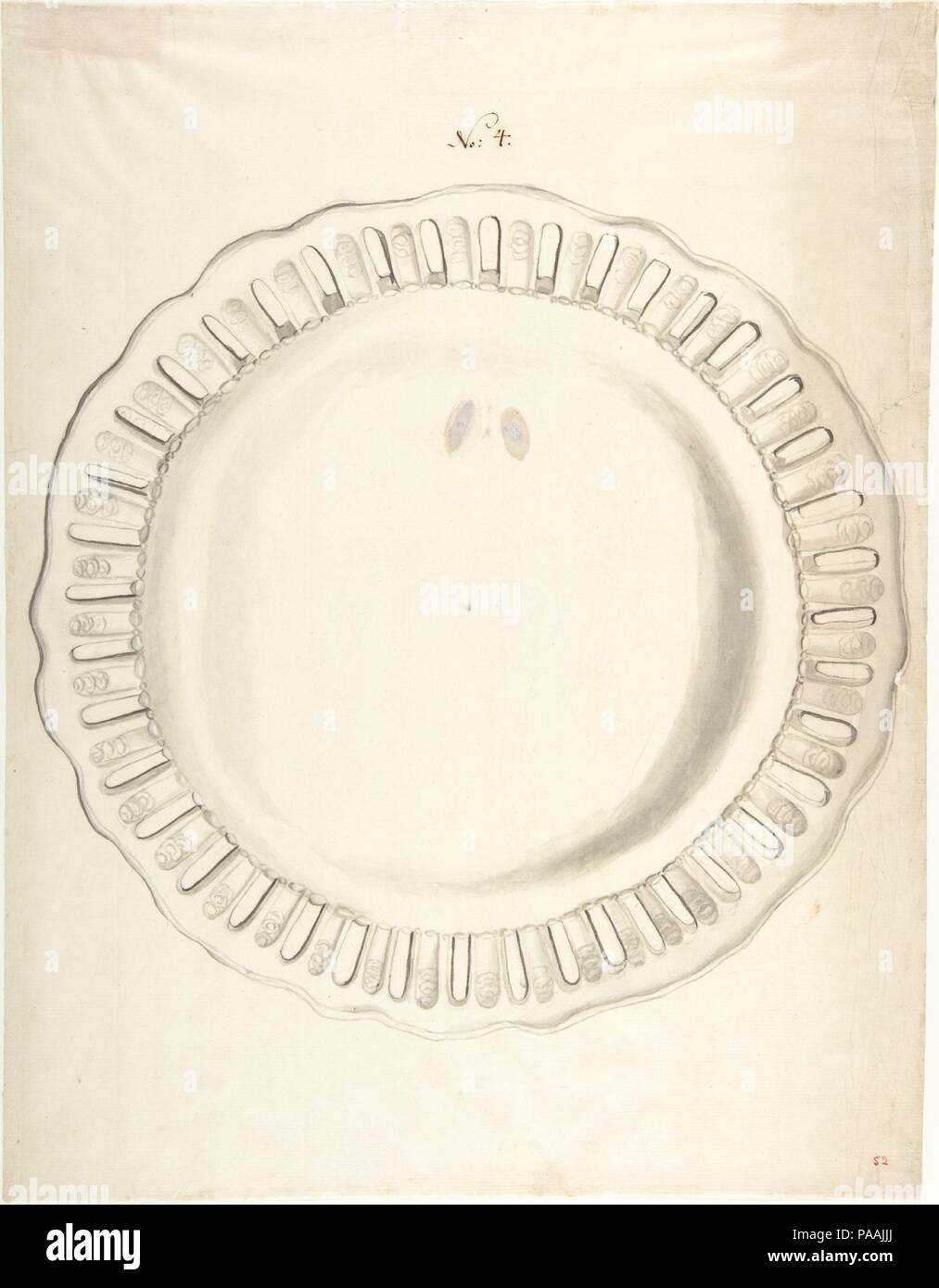 Design for a Plate. Artist: Anonymous, French, 18th century. Dimensions: 10 1/8 x 13 3/16 in.  (25.7 x 33.5 cm). Date: ca. 1770-90. Museum: Metropolitan Museum of Art, New York, USA. - Stock Image