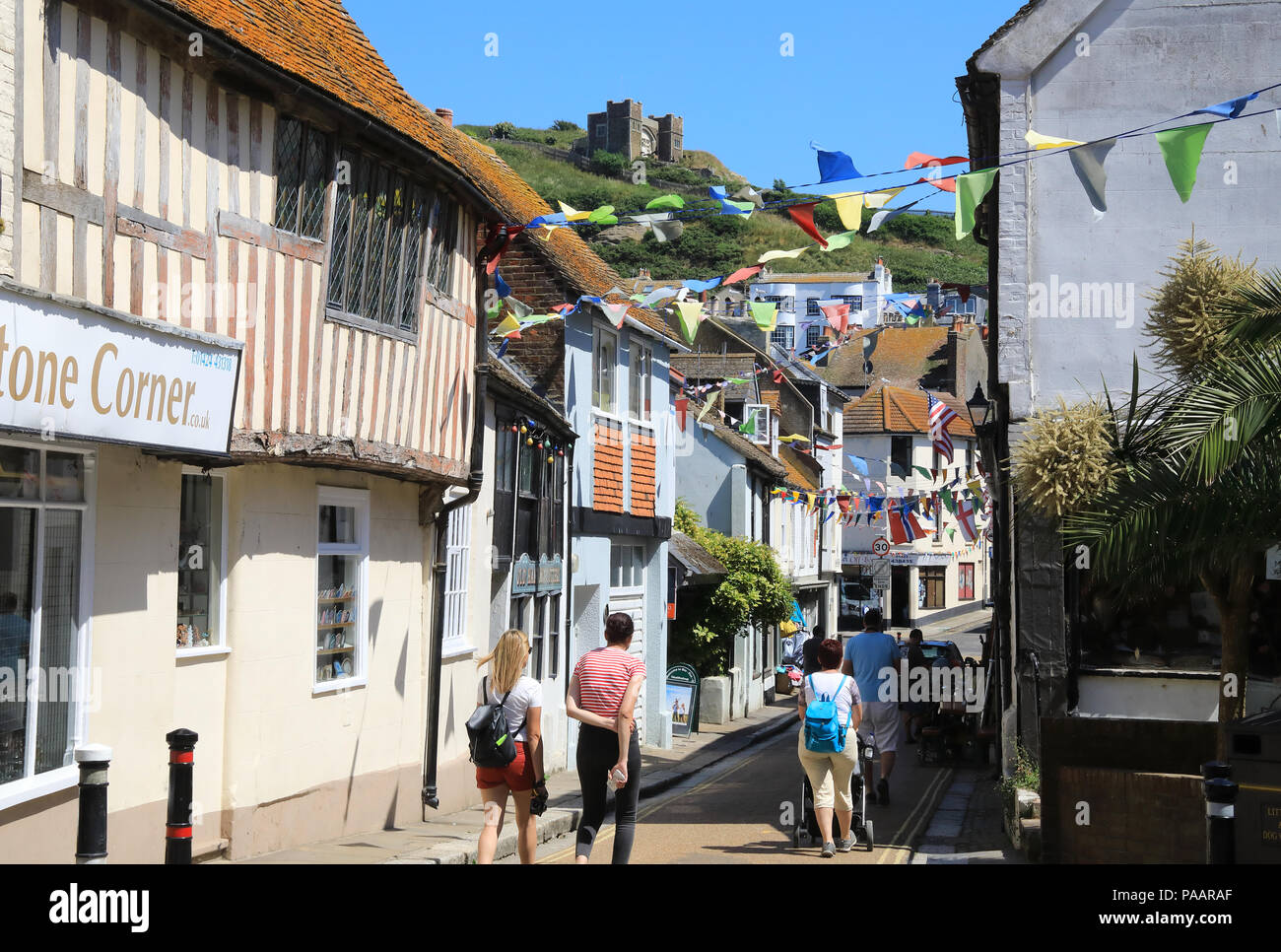 Courthouse Street in Hastings Old Town with the East Hill Lift beyond, in East Sussex, UK - Stock Image