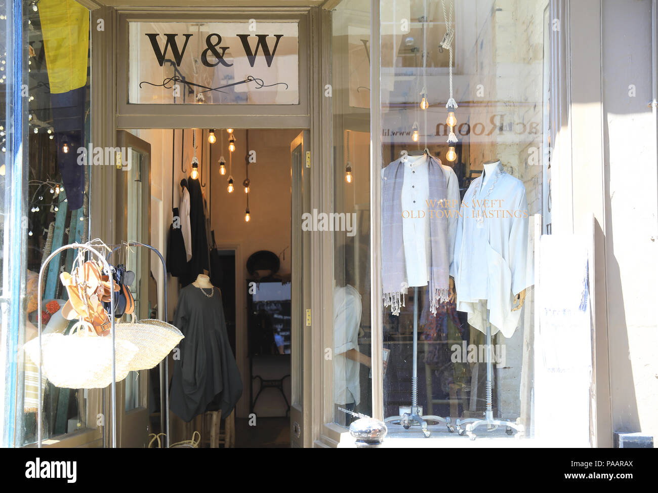 Warp & Weft independent boutique on vibrant George Street in Hastings Old Town, in East Sussex, UK - Stock Image