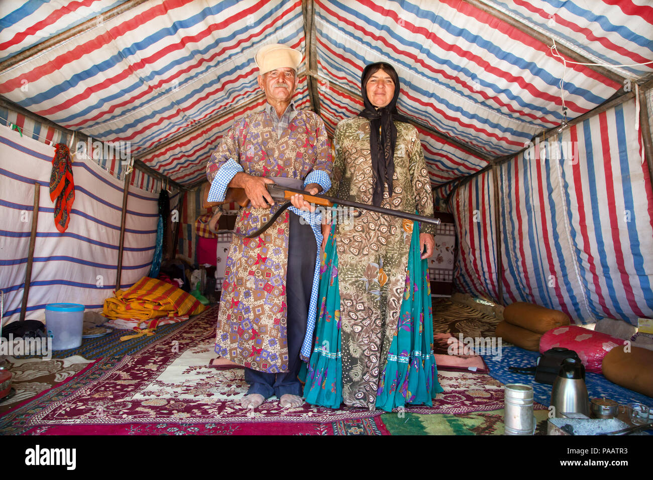 Qashqai couple in their tent, nomad people, Iran - Stock Image