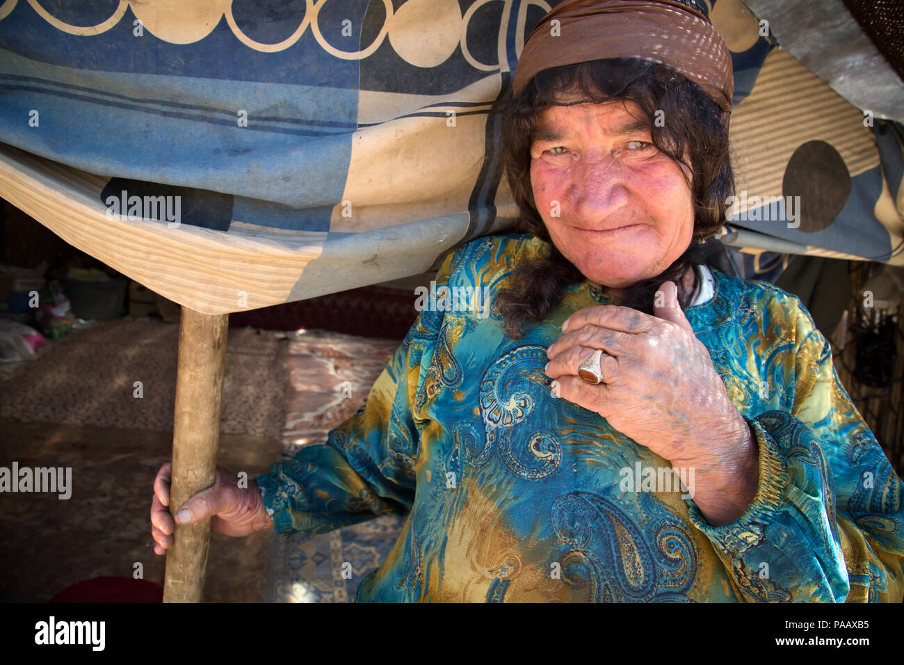 Portrait of Qashqai woman,  nomad people, Iran - Stock Image