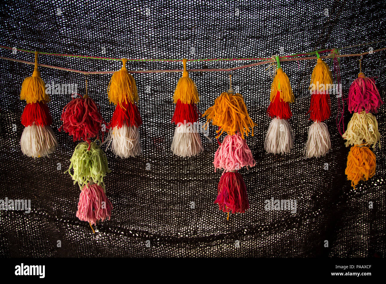 Decoration of Qashqai nomad people tent , Iran - Stock Image