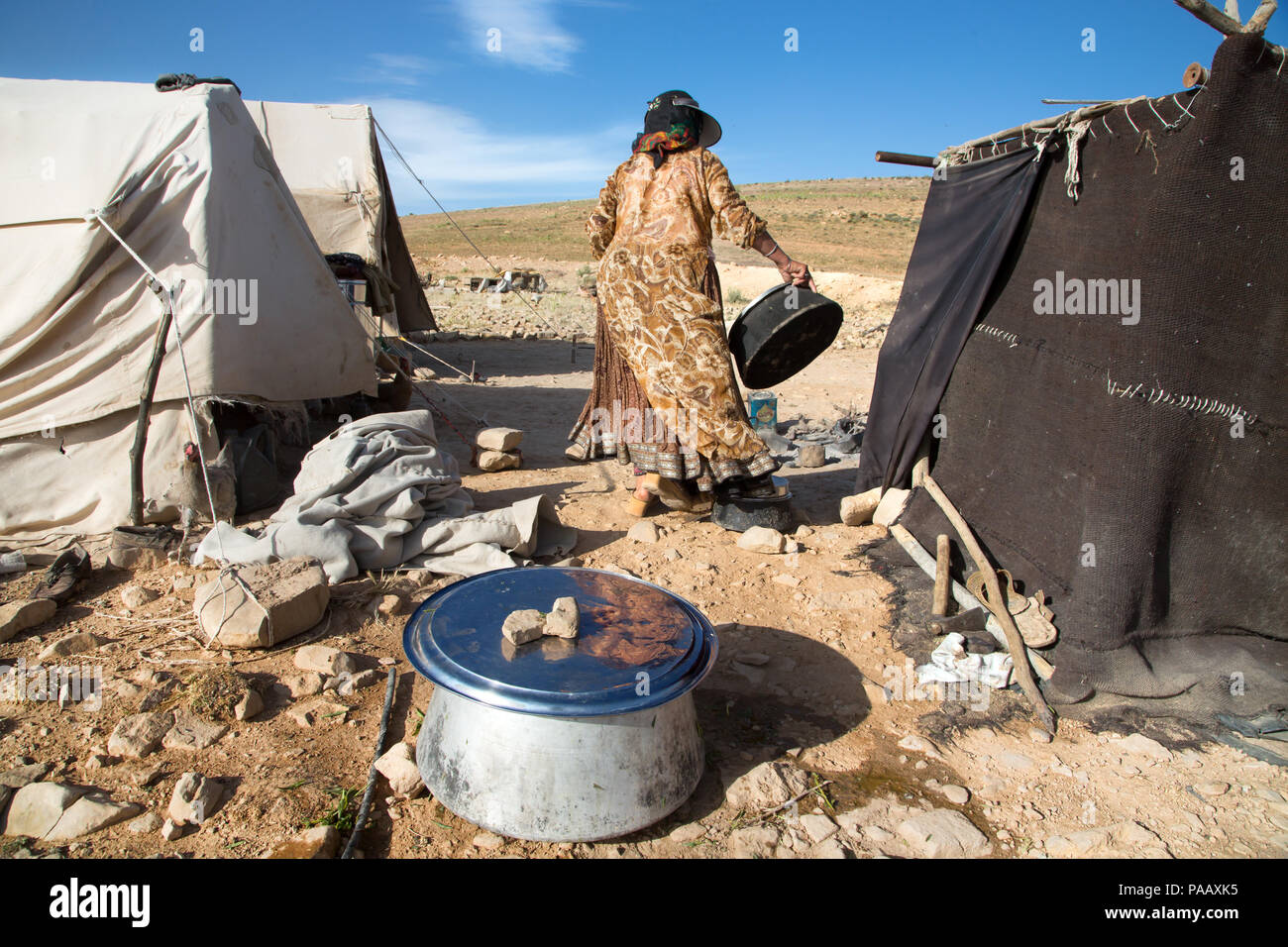 Daily life activities at Qashqai camp, nomad people, Iran - Stock Image