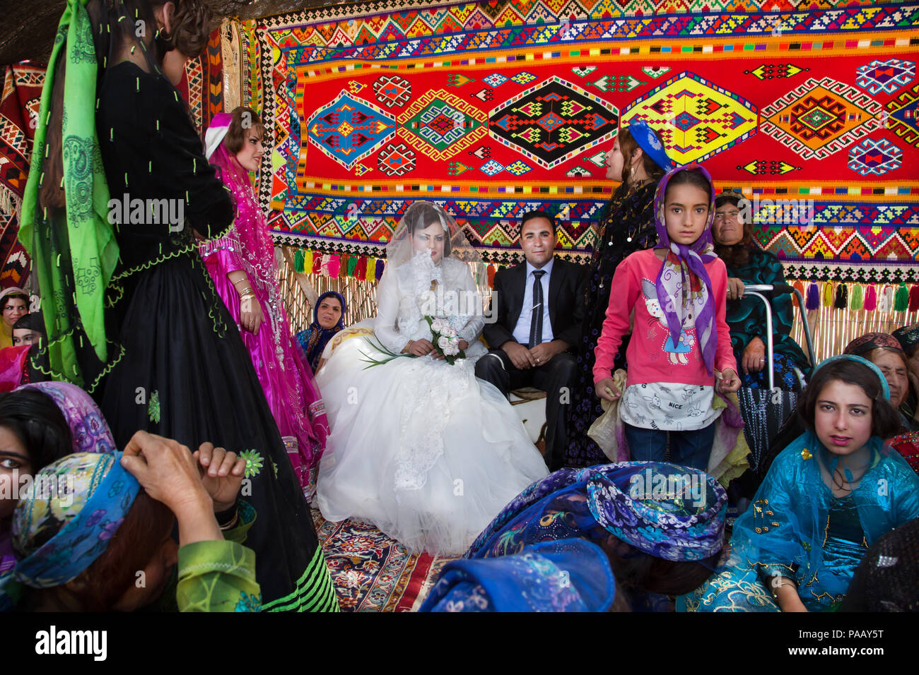 Qashqai traditional wedding ceremony nomad people, Iran - Stock Image