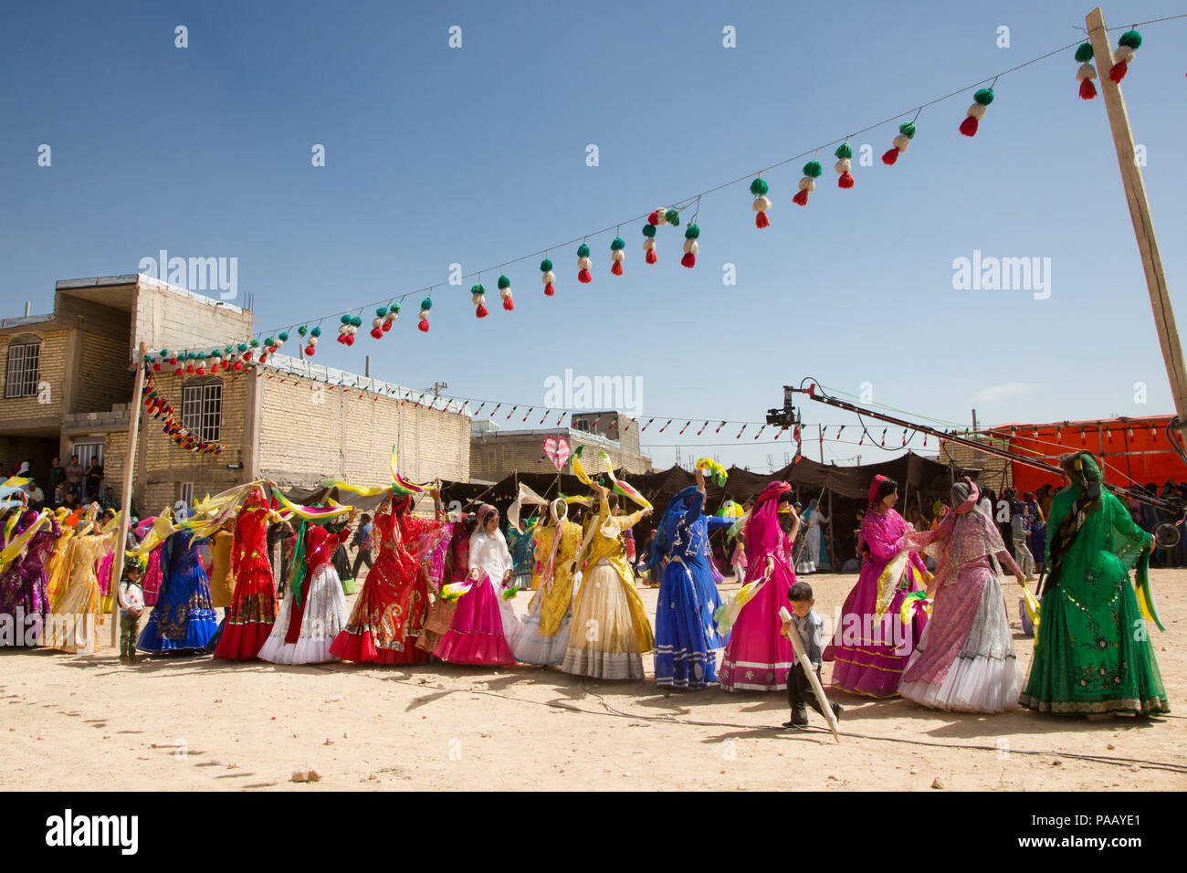 Qashqai traditional dances during wedding ceremony, nomad people, Iran - Stock Image