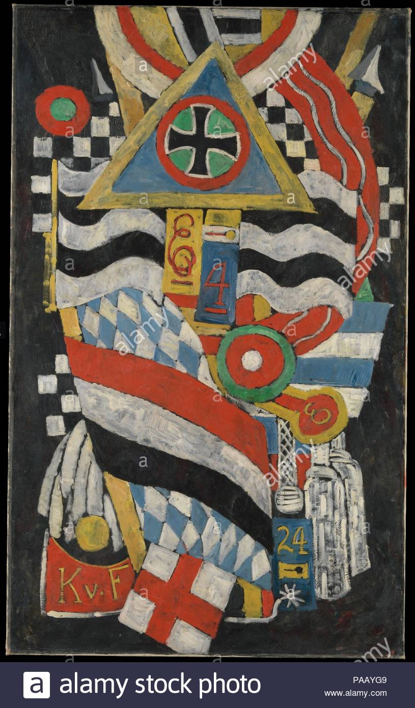 Portrait of a German Officer. Artist: Marsden Hartley (American, Lewiston, Maine 1877-1943 Ellsworth, Maine). Dimensions: 68 1/4 x 41 3/8 in. (173.4 x 105.1 cm). Date: 1914.  This monumental painting is the centerpiece of a series that evokes the dynamism, pageantry, and danger of life in Berlin during World War I. The painting's collagelike appearance, dramatic color, and emotional brushwork attest to Hartley's skillful synthesis of Cubism and German Expressionism. Hartley's composition is an abstract portrait of Karl von Freyburg, a Prussian lieutenant whom the artist loved and who died in t - Stock Image