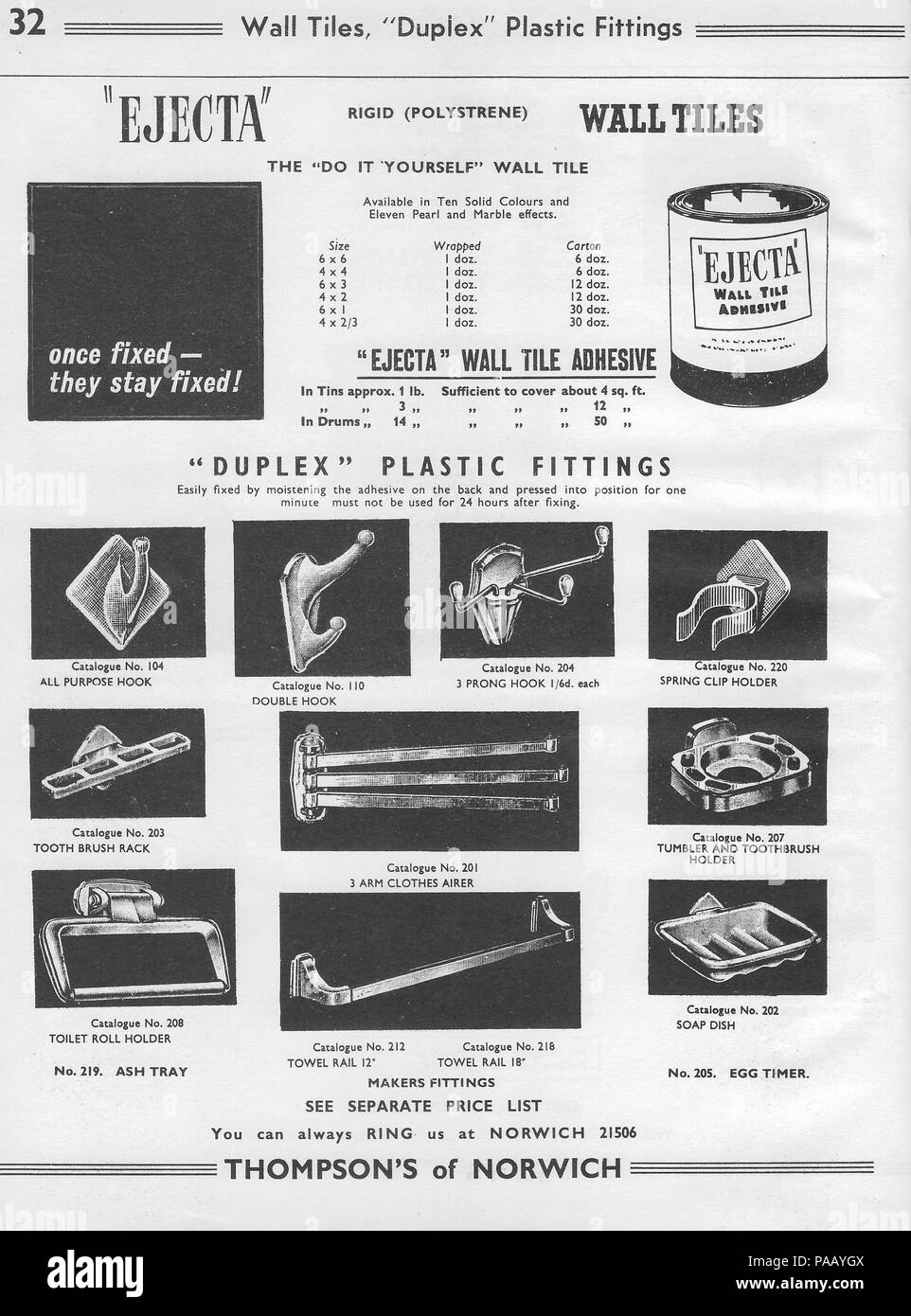 General Wholesale Catalogue Hardware Factors H Thompson Sons Ltd Chalk Hill Works Norwich England UK 1940s 1950s Retro Vintage Household Products