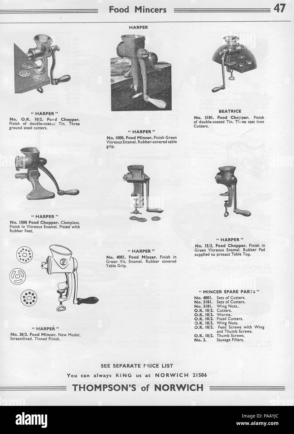 General wholesale catalogue hardware factors H. Thompson & Sons Ltd, Chalk  Hill Works, Norwich, England, UK 1940s 1950s retro vintage household  products ...
