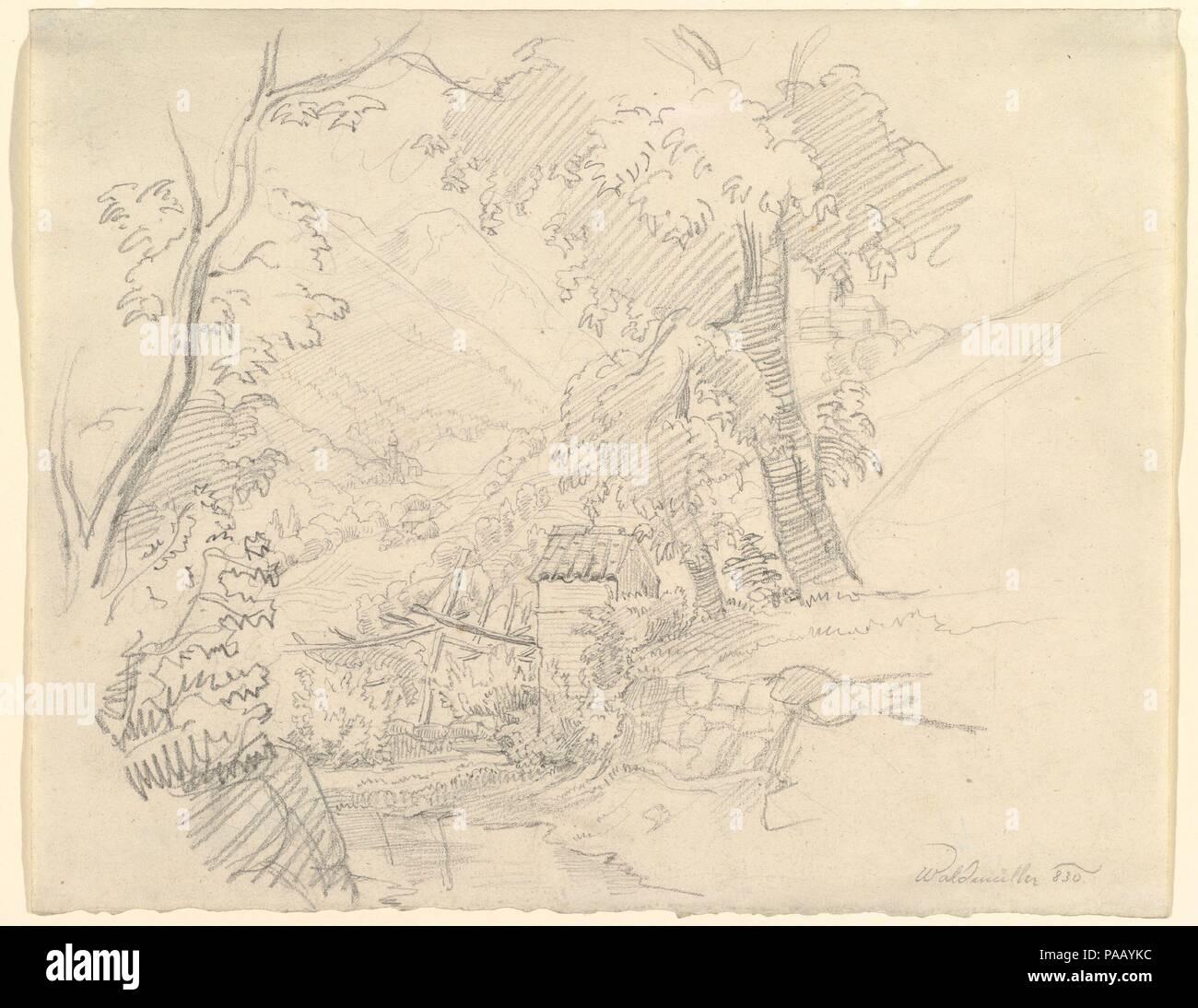 Landscape with a View in a Valley. Artist: Ferdinand Georg Waldmüller (Austrian, Vienna 1793-1865 Helmstreitmühle in der Hinterbrühl). Dimensions: sheet: 8 7/8 x 11 3/16 in. (22.5 x 28.4 cm). Museum: Metropolitan Museum of Art, New York, USA. - Stock Image