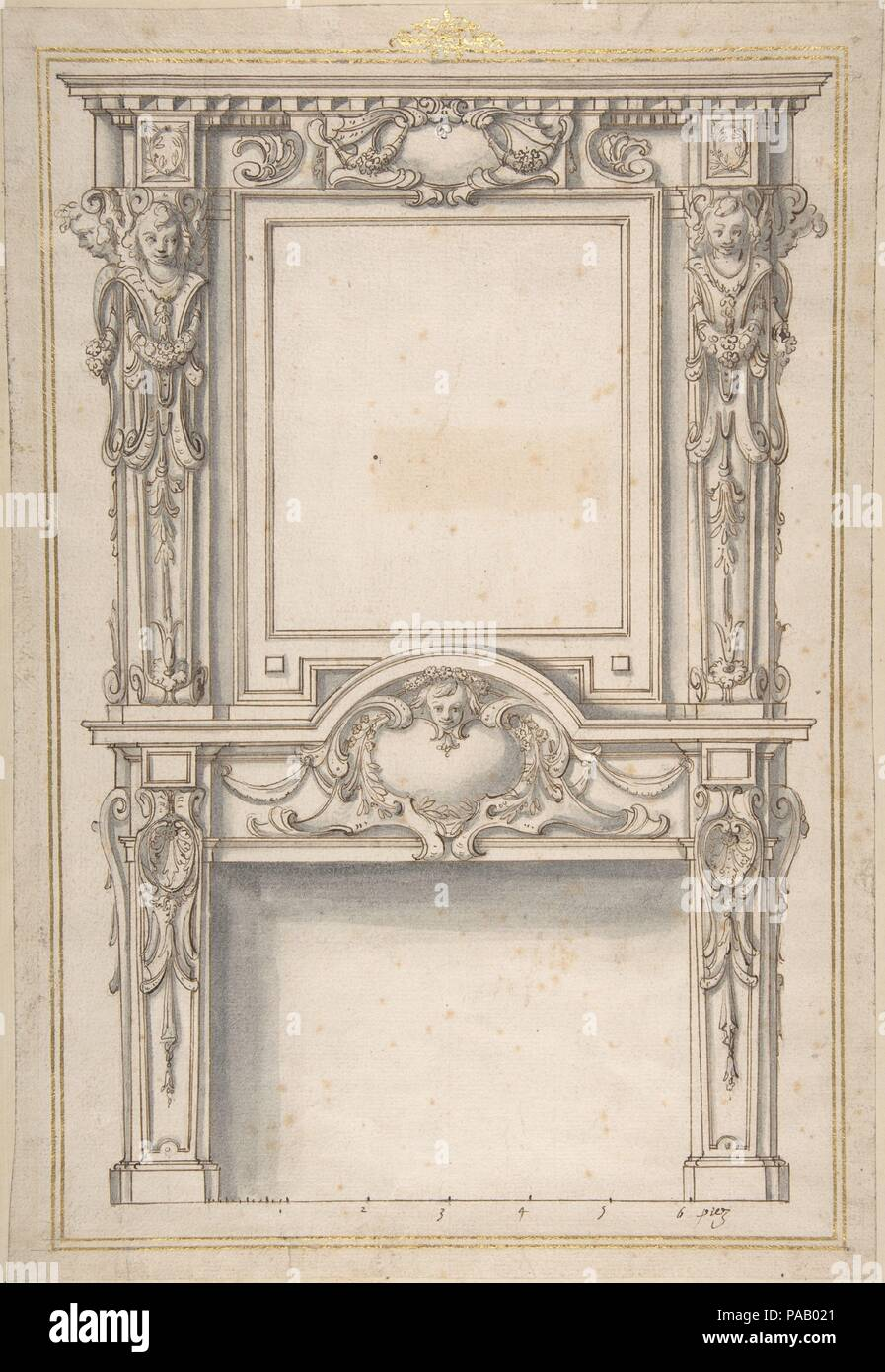 Design for a Fireplace. Artist: Anonymous, French, 17th century; After Jean Barbet (French, 1605-1654). Dimensions: 13 7/8 x 9 3/8 in.  (35.2 x 23.8 cm). Former Attribution: Formerly attributed to Salomon de Brosse; Formerly attributed to François Derand (French, Vic-sur-Seille ca. 1590-1640 Agde). Date: 1633 or after.  This drawing reproduces a fireplace published in a print series by Melchior II Tavernier (French, Antwerp 1595-1665 Paris) in 1633. Eight years earlier, Tavernier had hired a young artist called Jean Barbet to record some of the latest novelties in interior design from in and a - Stock Image