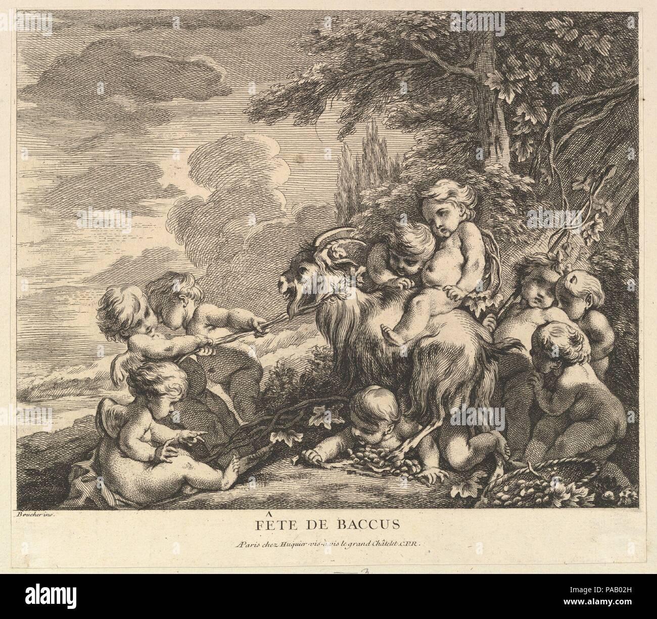 The Feast of Bacchus. Artist: After François Boucher (French, Paris 1703-1770 Paris); Pierre Alexandre Aveline (French, Paris 1702-1760 Paris). Dimensions: Sheet (trimmed): 9 3/16 × 10 7/16 in. (23.4 × 26.5 cm). Publisher: Chez Huquier (French, 18th century). Series/Portfolio: Children's Games  (Jeux d'enfants). Date: ca. 1738. Museum: Metropolitan Museum of Art, New York, USA. Stock Photo