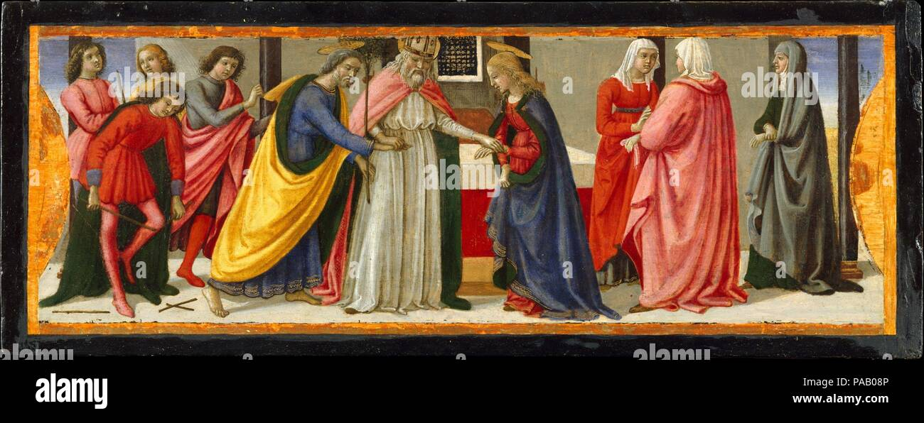 The Marriage of the Virgin. Artist: Davide Ghirlandaio (David Bigordi) (Italian, Florence 1452-1525 Florence). Dimensions: 6 1/4 x 16 1/4 in. (15.9 x 41.3 cm). Date: ca. 1479.  Davide Ghirlandaio painted these three enchanting scenes about 1479 for the base (predella) of an important altarpiece commissioned from his brother, Domenico, for the church of San Giusto alle Mura outside Florence. Two further scenes are known; the main panel is in the Uffizi in Florence.  According to legend, at the burial of Saint Zenobius a dead tree sprang to life when it was touched by the saint's bier. The bapti - Stock Photo