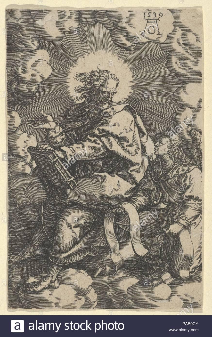 Saint Matthew, from The Four Evangelists. Artist: Heinrich Aldegrever (German, Paderborn ca. 1502-1555/1561 Soest); after Georg Pencz (German, Wroclaw ca. 1500-1550 Leipzig). Dimensions: Sheet: 4 5/8 × 2 15/16 in. (11.7 × 7.5 cm). Date: 1539. Museum: Metropolitan Museum of Art, New York, USA. - Stock Image