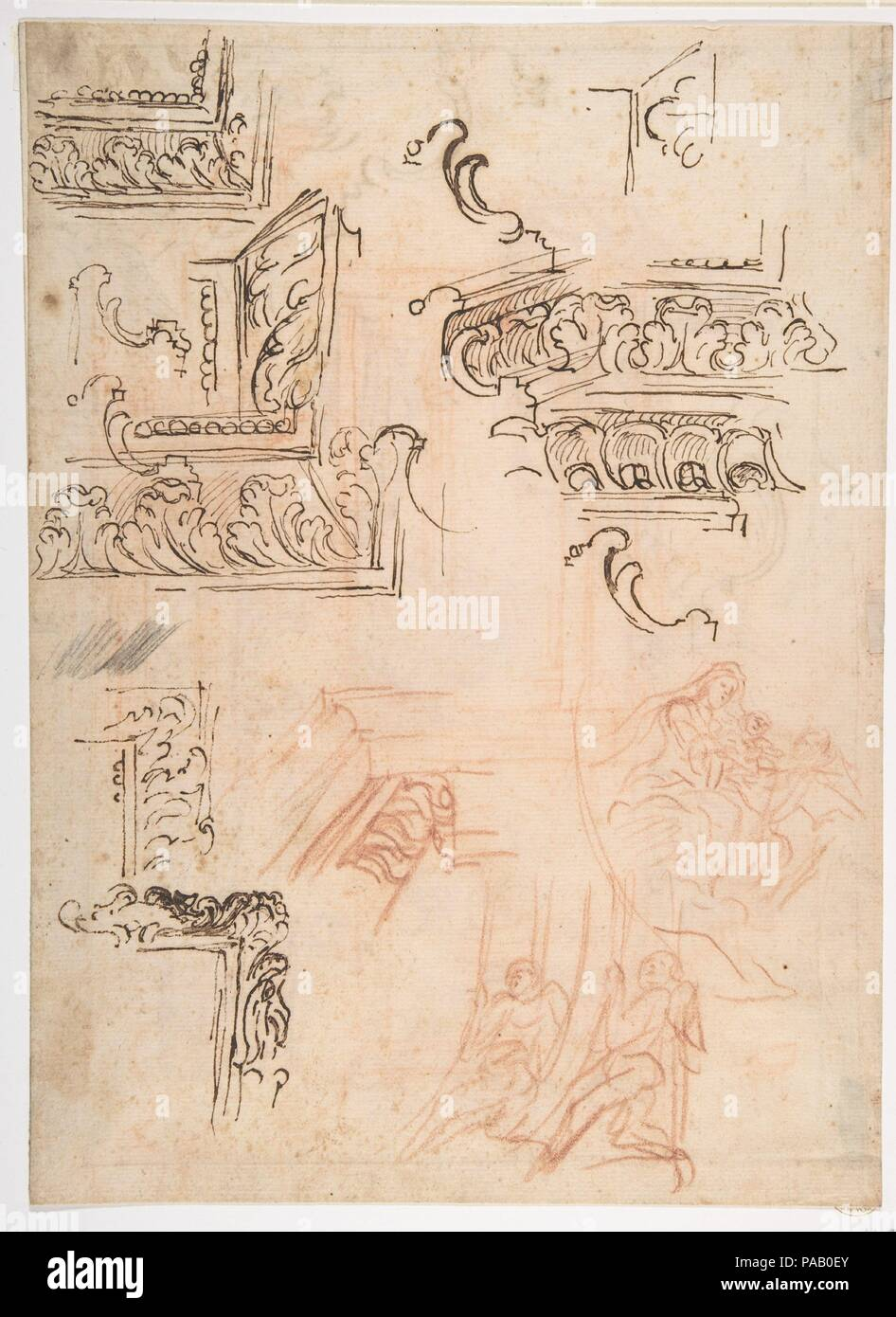 Studies of Architectural Moldings, of the Virgin and Child