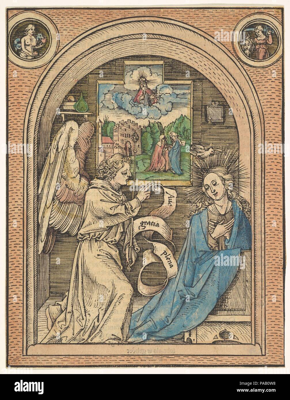 The Annunciation. Artist: Hans Wechtlin (German, Strasbourg ca. 1480/85-after 1526). Dimensions: sheet: 8 9/16 x 6 11/16 in. (21.7 x 17 cm). Date: late 15th-early 16th century. Museum: Metropolitan Museum of Art, New York, USA. - Stock Image