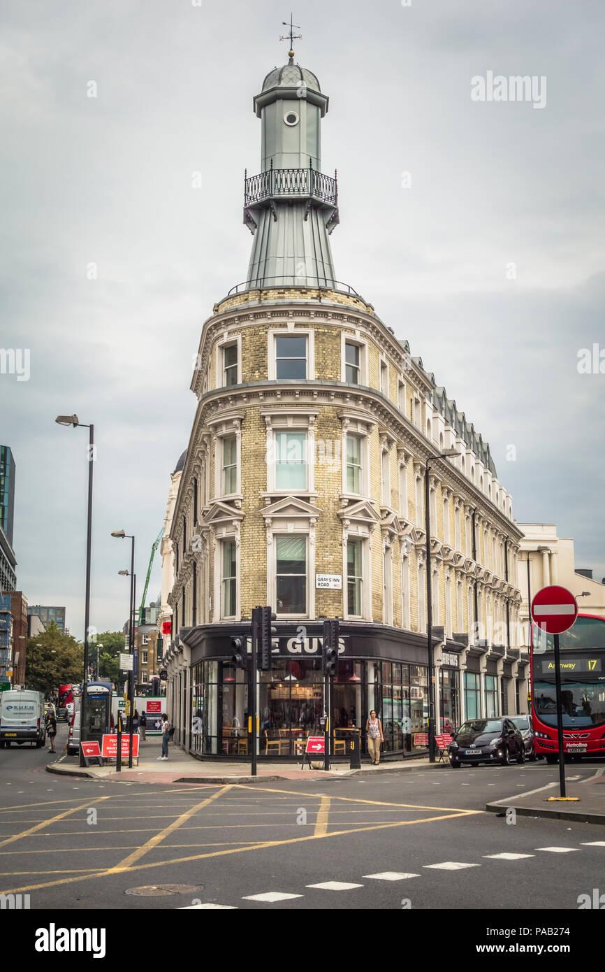 5 Guys Burger Chain Restaurant In The Lighthouse Building On Grays Inn Road Kings Cross London Uk