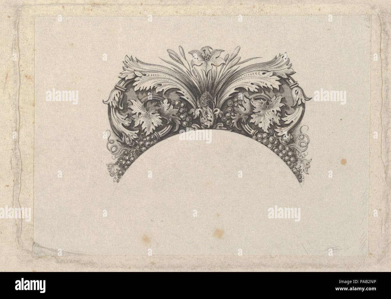 Arched framing element for banknote, with acanthus and vine leaves ...