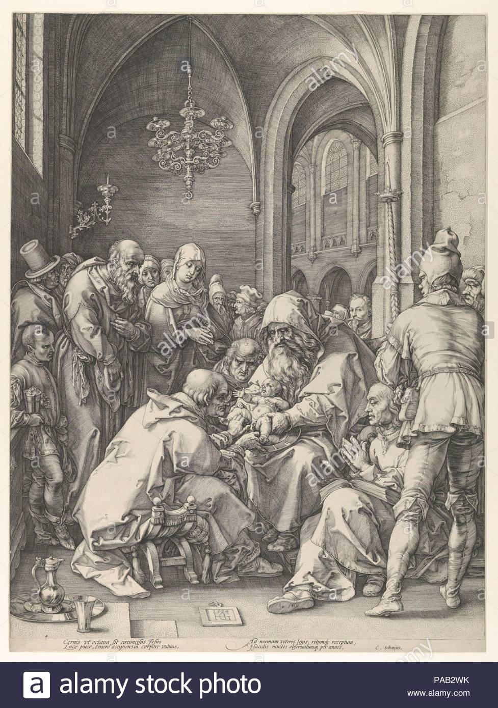 The Circumcision. Artist: Hendrick Goltzius (Netherlandish, Mühlbracht 1558-1617 Haarlem). Dimensions: Image: 18 1/4 x 13 13/16 in. (46.4 x 35.1 cm). Date: n.d..  The series to which this engraving belongs is commonly known as Goltzius's Meisterstiche, or masterpiece--by analogy with the three famous Meisterstiche by his great predecessor Albrecht Dürer. In a remarkable demonstration of virtuosity in the series, Goltzius imitated the styles of various masters in compositions of his own invention. In this case, he looked to the composition of Dürer's woodcut Circumcision from the series The Lif - Stock Image