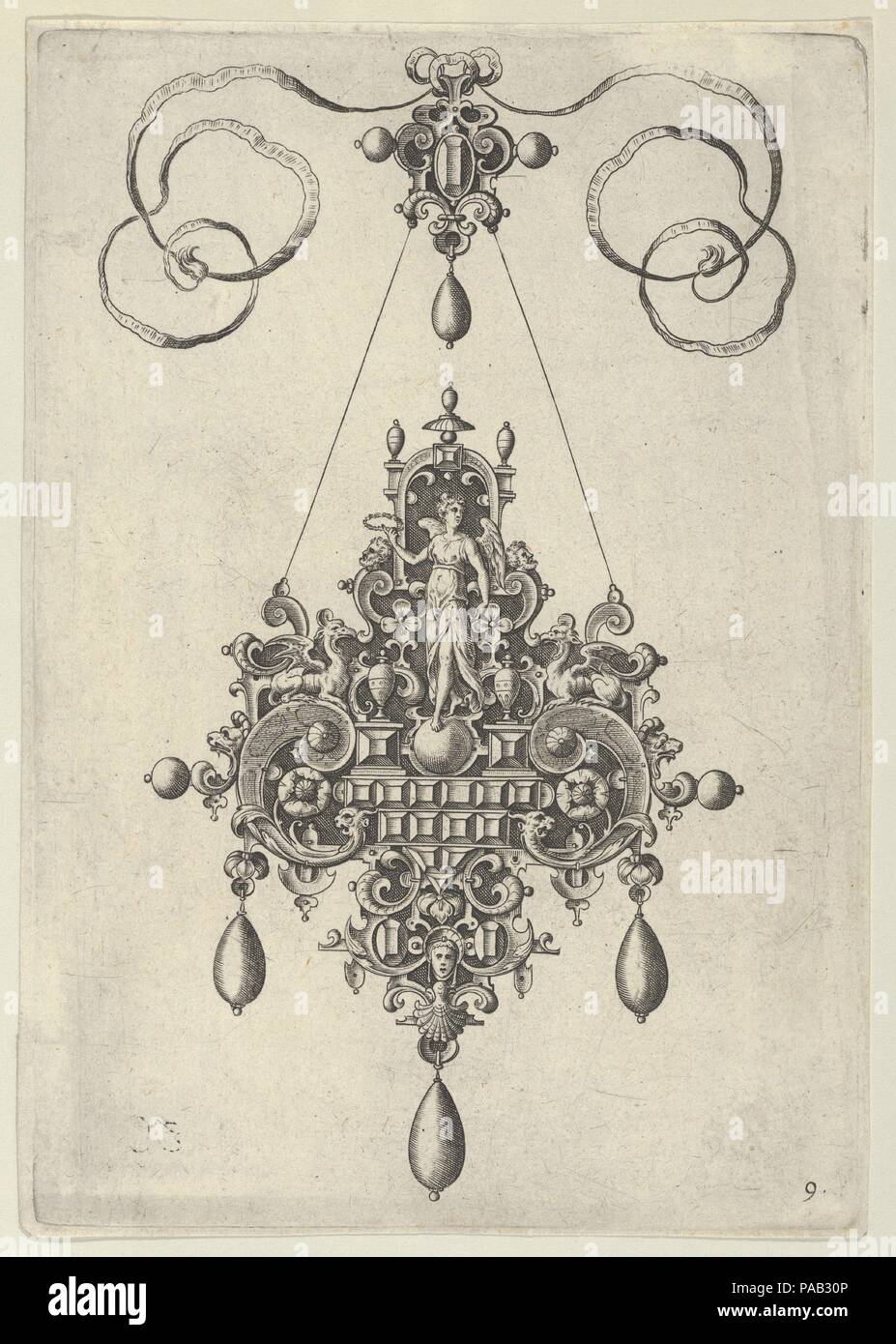 Pendant Design with Winged Victory Holding a Laurel Wreath. Artist: Jan Collaert I (Netherlandish, Antwerp ca. 1530-1581 Antwerp). Dimensions: Sheet: 6 7/8 × 4 13/16 in. (17.5 × 12.2 cm). Series/Portfolio: Designs for Pendants I. Date: after 1581.  Vertical panel with a pendant design at center, with a winged female figure standing on an orb and holding up a laurel wreath in her right hand. The figure is set in a strapwork background and is flanked by inward-facing griffins. At the bottom of the ornament is a female mask with a headdress. Plate 9 from a set of ten plates with pendant designs,  - Stock Image