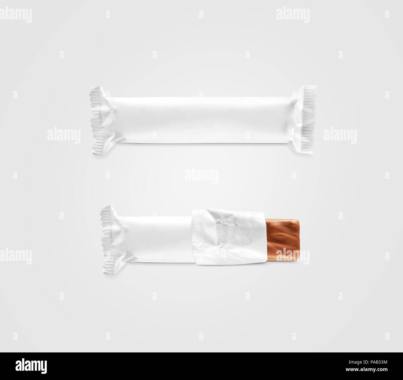 Blank White Candy Bar Plastic Wrap Mockup Isolated Closed And