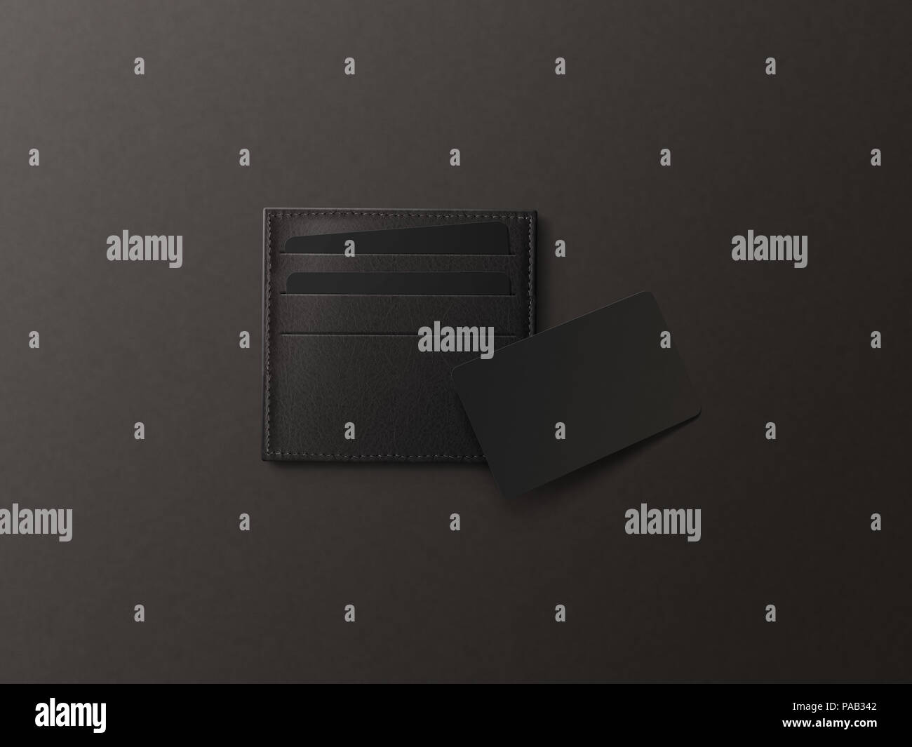 Leather card holder with blank black card mock up isolated. Business credit cards mockup in sleeve cardholder pocket. Clear paper visiting id cards in - Stock Image