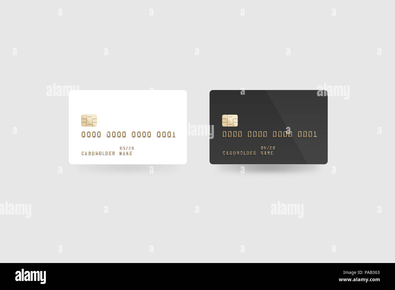 blank white credit card mockup isolated clipping path front and back side 3d illustration clear plastic card mock up black surface bank card with - Plastic Credit Card