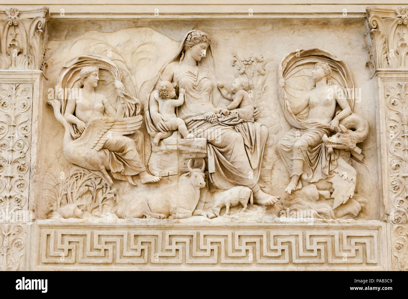 The 'Tellus' panel from the Ara Pacis Augustae (Altar of Augustan Peace) in Rome dedicated to Pax, the Roman goddess. of peace - Stock Image