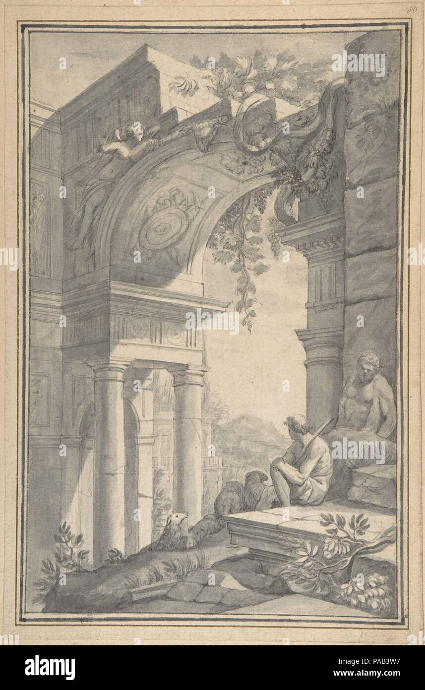 A Shepherd under a Ruined Arch with the Farnese Hercules. Artist: Johannes Antiquus (Dutch, Groningen, 1702-1750). Dimensions: 14 1/4 x 9 3/8 in. (36.2 x 23.8 cm). Date: 18th century. Museum: Metropolitan Museum of Art, New York, USA. - Stock Image