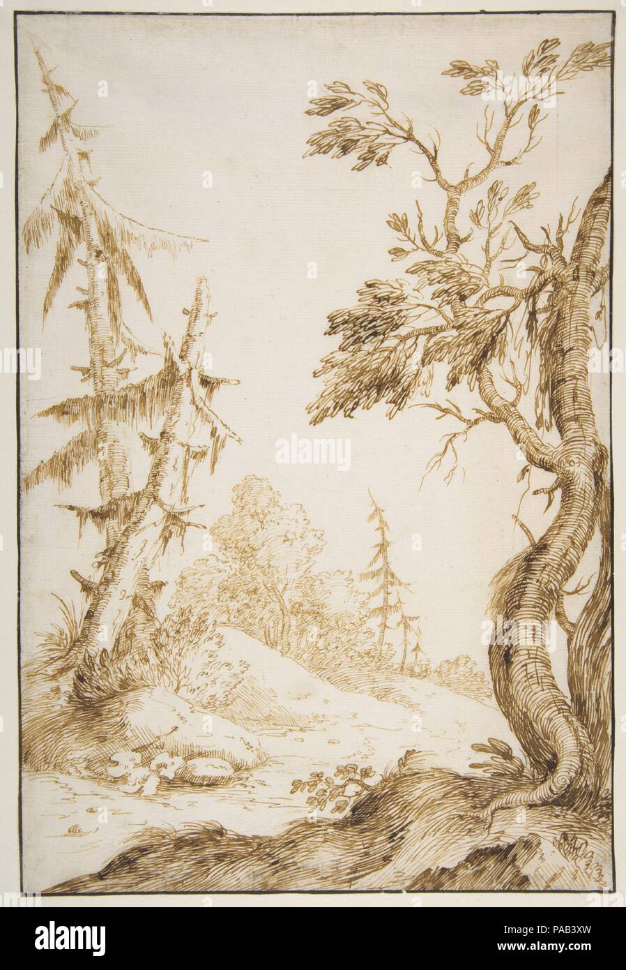Clearing in a Wooded Landscape. Artist: Marco Ricci (Italian, Belluno 1676-1730 Venice (?)). Dimensions: 11 1/2 x 7 13/16in. (29.2 x 19.8cm). Date: 1676-1730. Museum: Metropolitan Museum of Art, New York, USA. - Stock Image