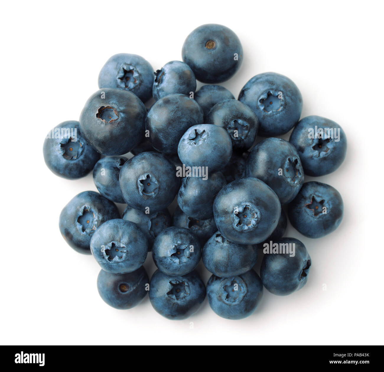 Top view of blueberries heap isolated on white Stock Photo