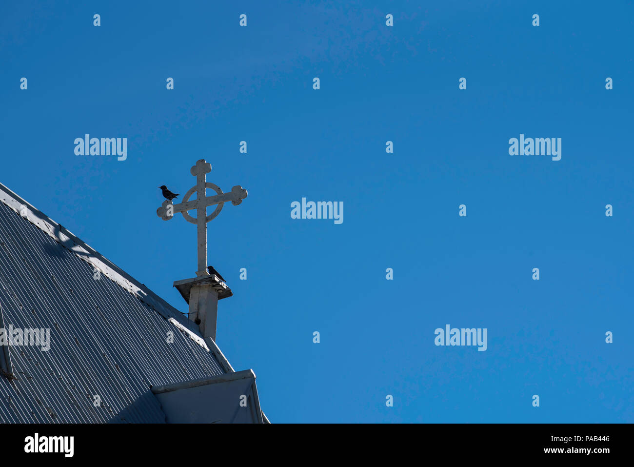 A Christian cross on a gable end of a tin roofed church in Bowral Australia with two Common Blackbirds (Turdus merula) resting on the cross - Stock Image