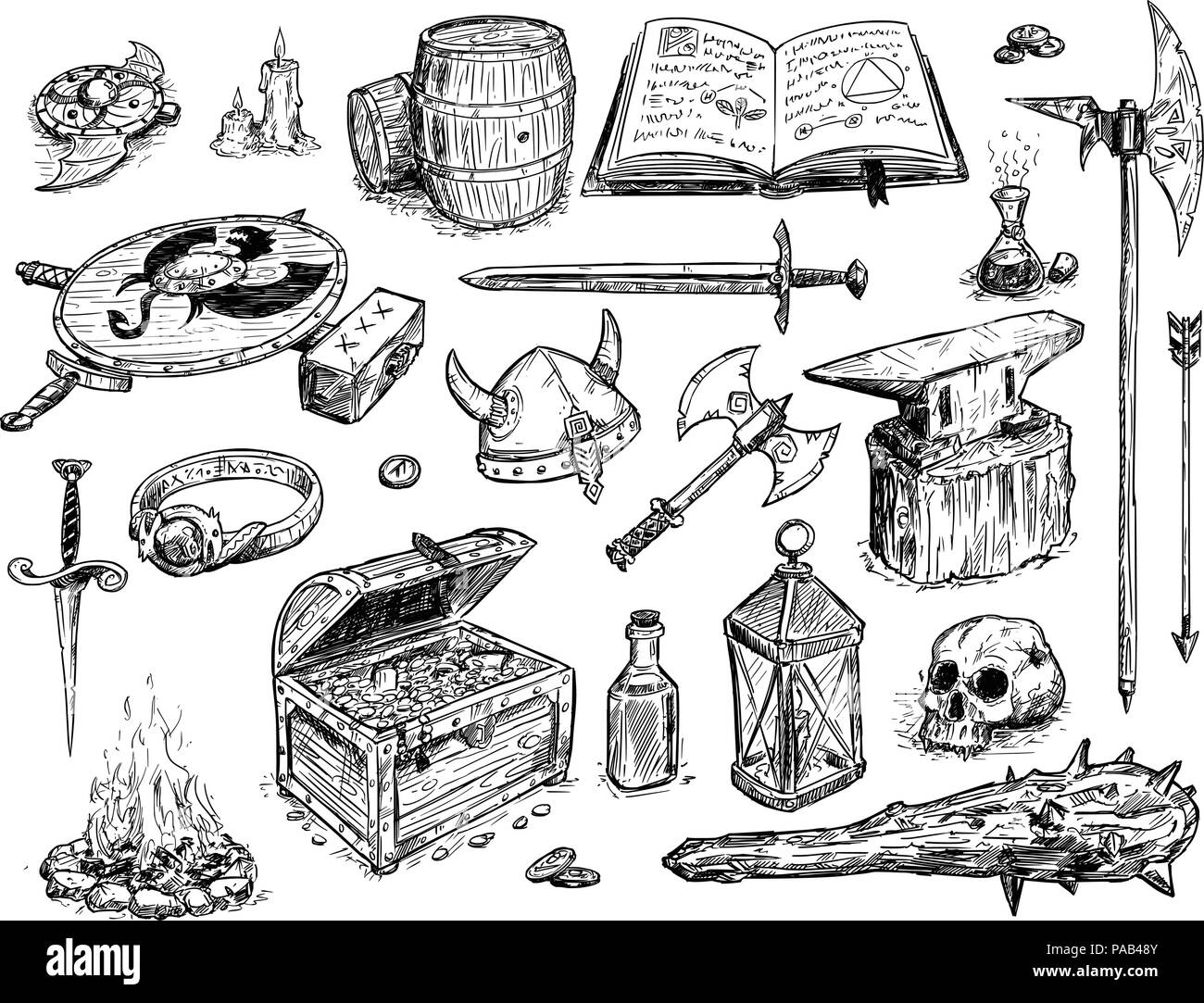 Vector Drawing Illustration of Fantasy Set Prop - Stock Image