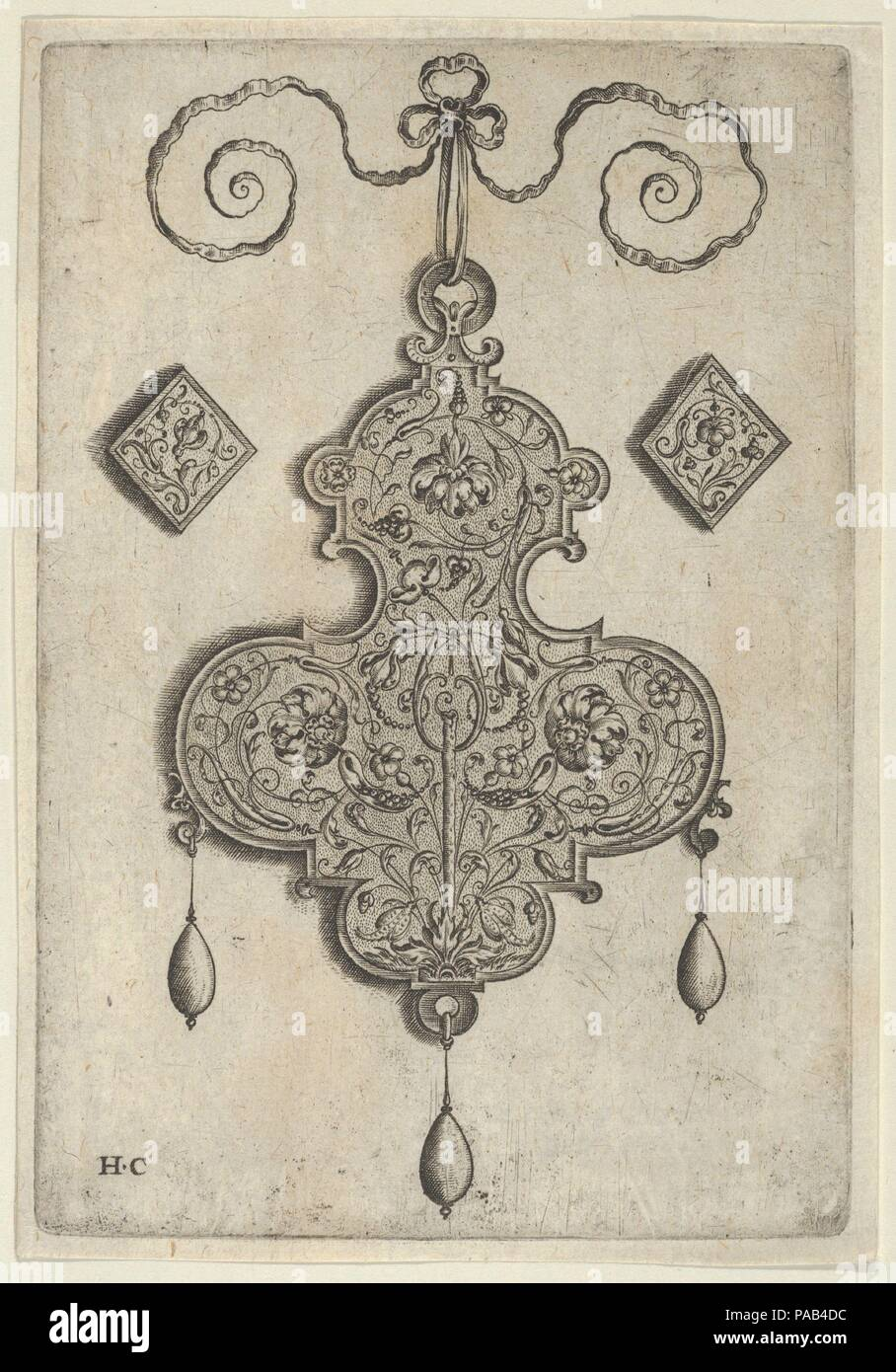 Design for the Verso of a Pendant with Three Large Flowers. Artist: Jan Collaert I (Netherlandish, Antwerp ca. 1530-1581 Antwerp). Dimensions: Sheet: 5 3/4 × 4 in. (14.6 × 10.1 cm). Publisher: published by Hans Liefrinck (Augsburg (?) 1518?-1573 Antwerp) , in Antwerp. Series/Portfolio: Pendant Designs with Deities in Niches and Flower-Arabesques. Date: before 1573.  Vertical panel with the design for a pendant verso at center. The ornament is decorated with a flower-arabesque pattern, with a stick or plant rising from bottom center and a large flower in each of the ornament's three arms. Flank - Stock Image