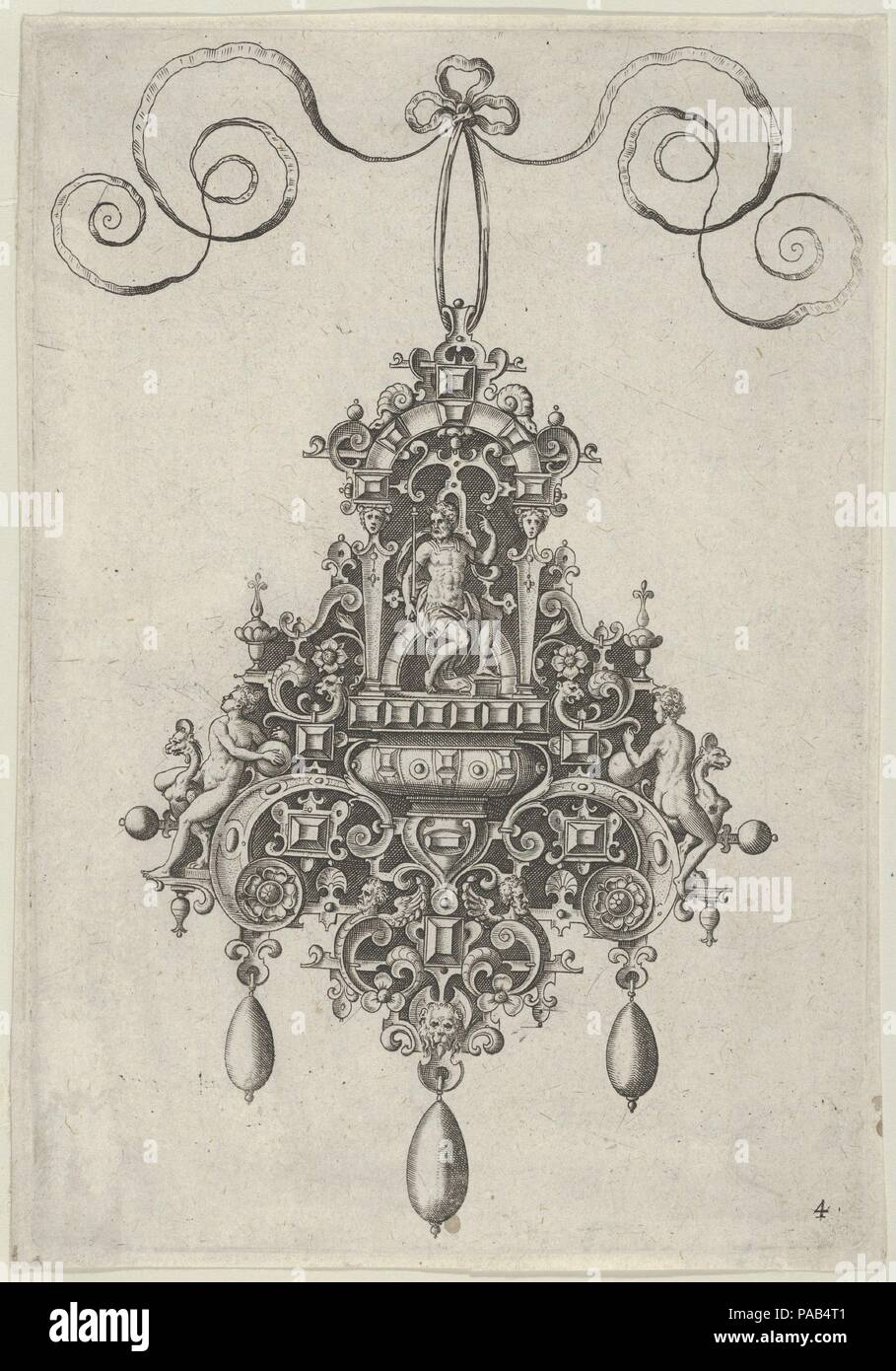 Pendant Design with Mars Seated Beneath an Arch. Artist: Jan Collaert I (Netherlandish, Antwerp ca. 1530-1581 Antwerp). Dimensions: Sheet: 6 15/16 × 4 13/16 in. (17.7 × 12.2 cm). Series/Portfolio: Designs for Pendants I. Date: after 1581.  Vertical panel with a pendant design at center, with Mars seated under an arch against a strapwork background at center.  At the sides of the ornament, female figures hold onto strapwork elements, with the one at right seen from behind. Plate 4 from a set of ten plates with pendant designs, with dieties and strapwork backgrounds. The first edition of the ser - Stock Image
